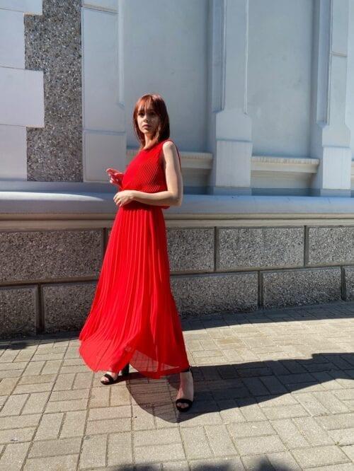 sukienka plisowana wizytowa czerwona