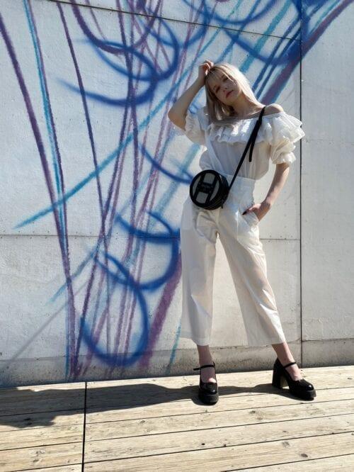 spodnie z wysokim stanem białe na lato