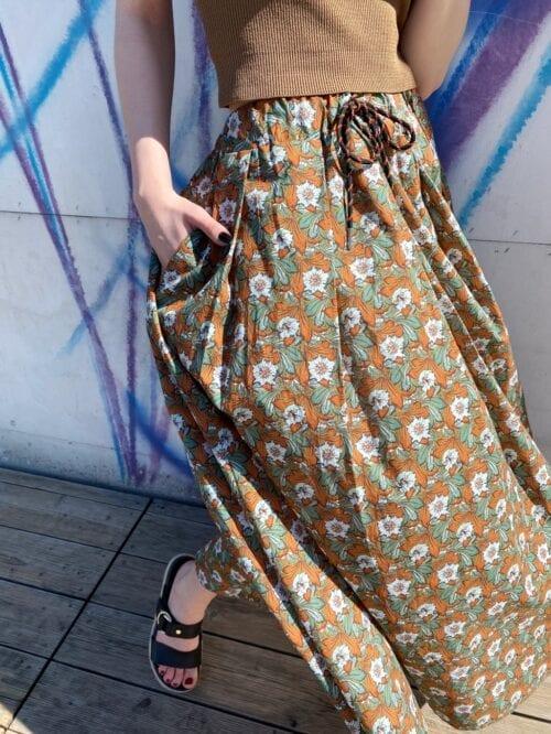 spódnica bawełniana włoska w kwiaty maxi