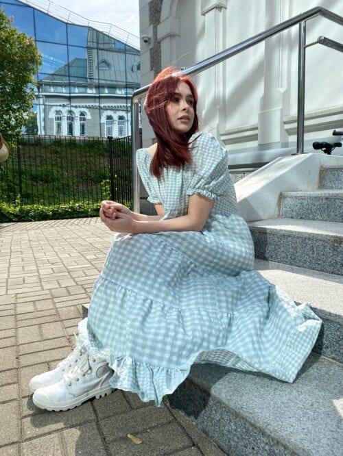 sukienka w krateczkę maxi włoska Wiya