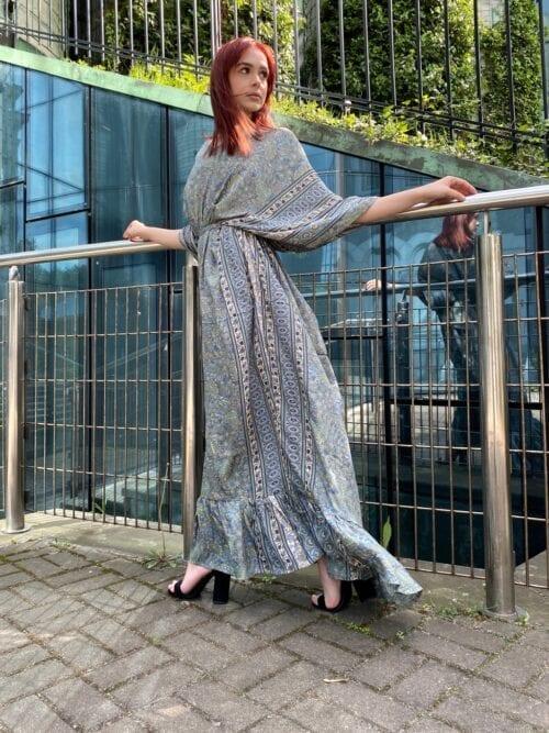 sukienka maxi kimono w indyjskie wzory