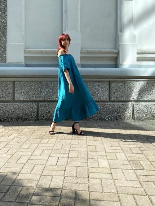 lniana sukienka hiszpanka turkusowa