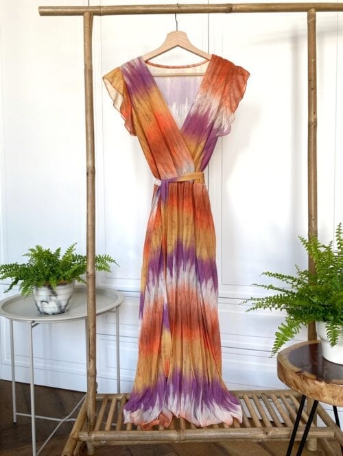 sukienka koktalowa tie dye plisowana fioletowo pomarańczowa