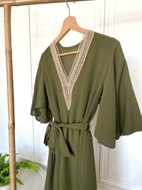 sukienka maxi khaki w stylu boho