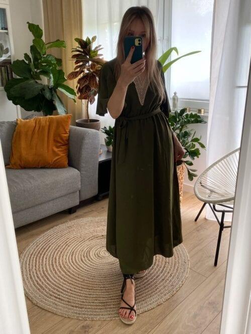 sukienka khaki wiązana na lato długa