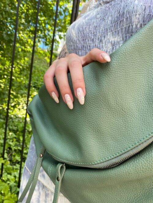 torba skórzana zielona miętowa