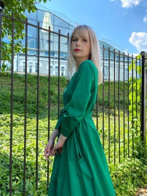 sukienka bawełniana z kieszeniami zielona na lato