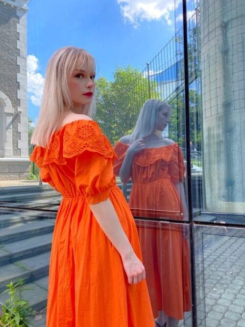 sukienka hiszpanka bawełniana pomarańczowa