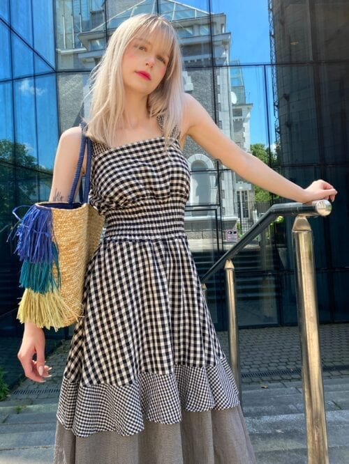 sukienka włoska w kratkę letnia wiya