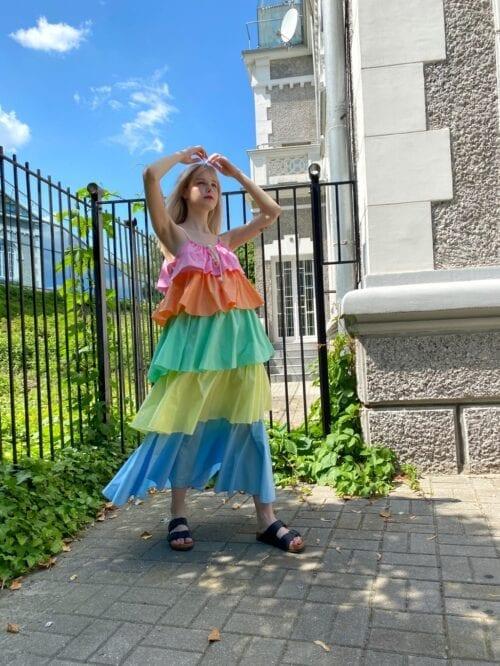 sukienka maxi bawełniana w kolorowe falbany