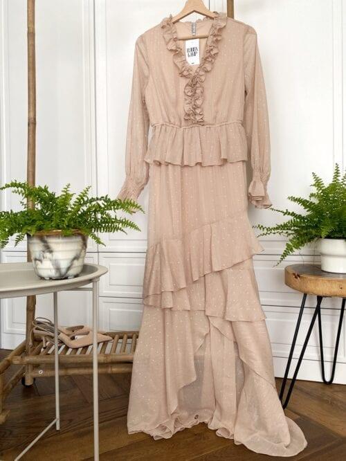 sukienka wizytowa nude maxi w kropeczki
