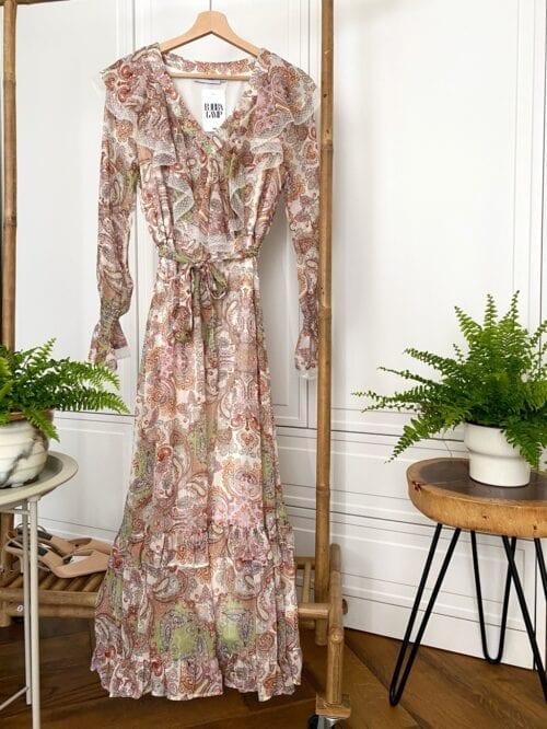 sukienka paisley maxi wizytowa z koronką