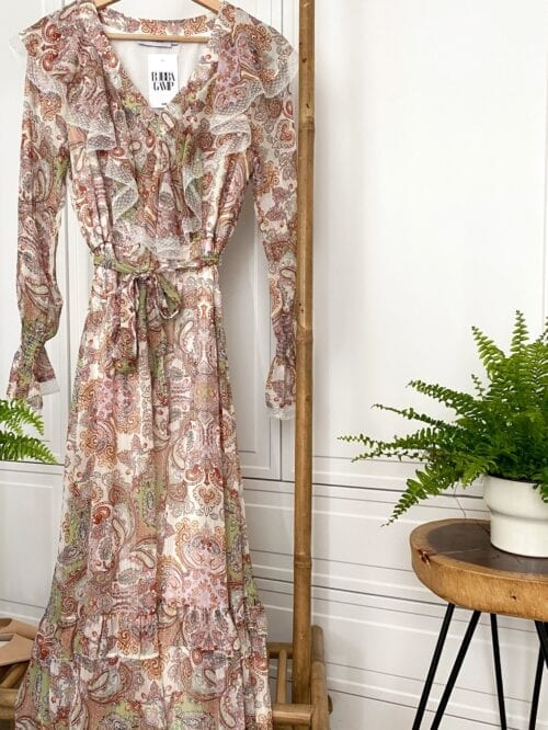 sukienka paisley wizytowa maxi z koronką