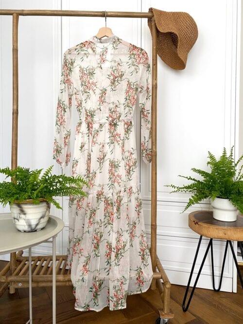 sukienka w stylu boho szyfonowa biała