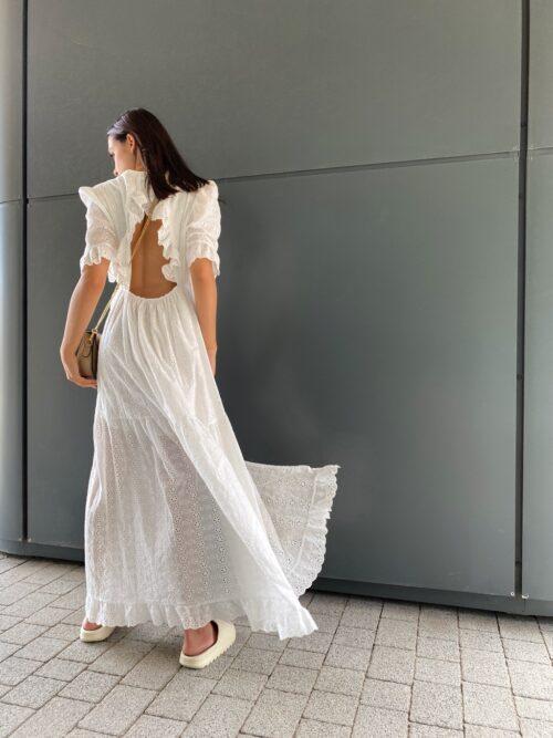 sukienka biała bawełniana z gipiury długa