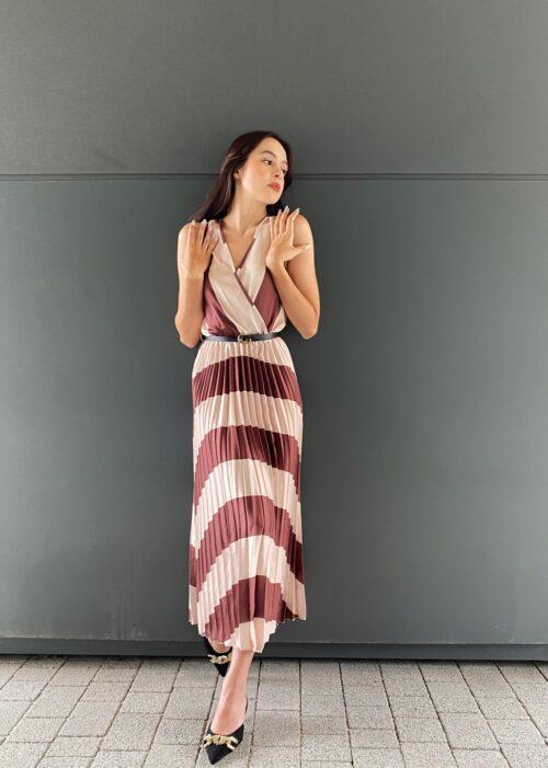 sukienka plisowana koktajlowa brązowa