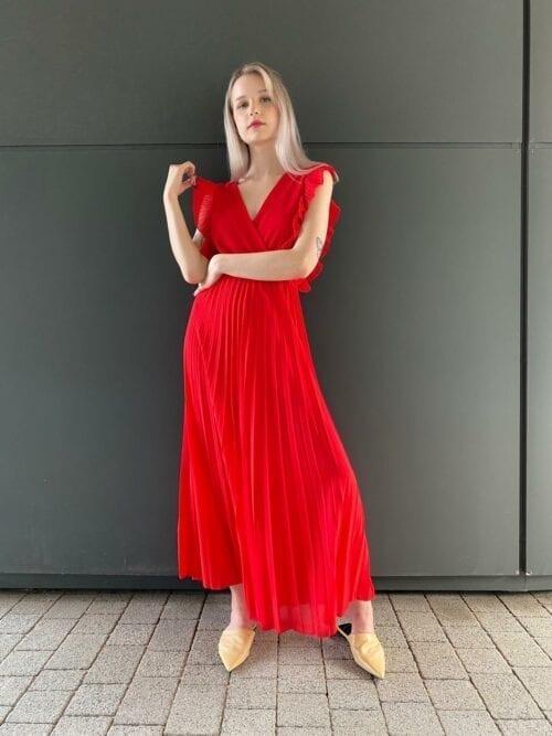 sukienka długa koktajlowa plisowana czerwona
