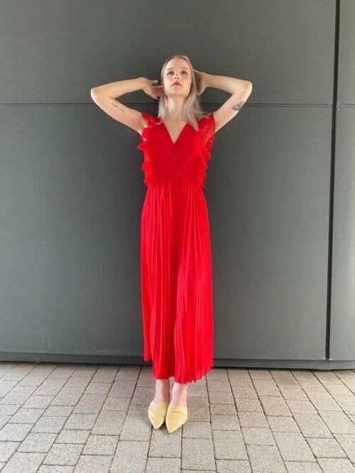 sukienka czerwona długa koktajlowa