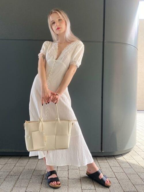 sukienka biała z koronką na guziczki z bawełny