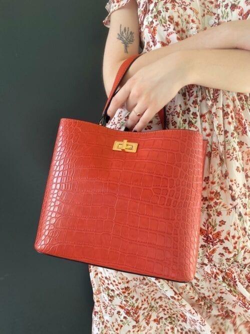 torebka szoper czerwona z dodatkowym długim paskiem