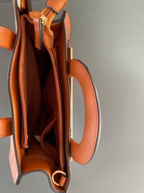 kuferek brązowy z dodatkowym paskiem aktówka