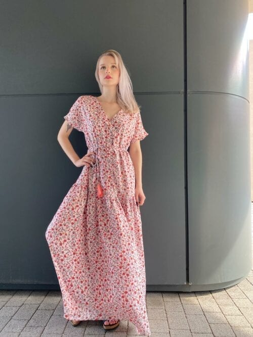 sukienka długa z chwostem w kwiatuszki
