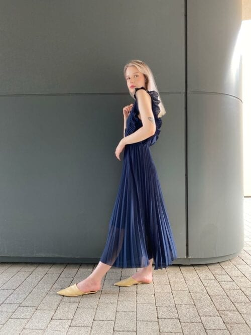 sukienka długa plisowana klasyczna na wesele wizytowa granatowa