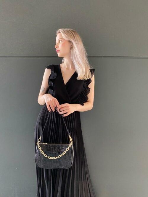 sukienka kopertowa czarna plisowana wizytowa