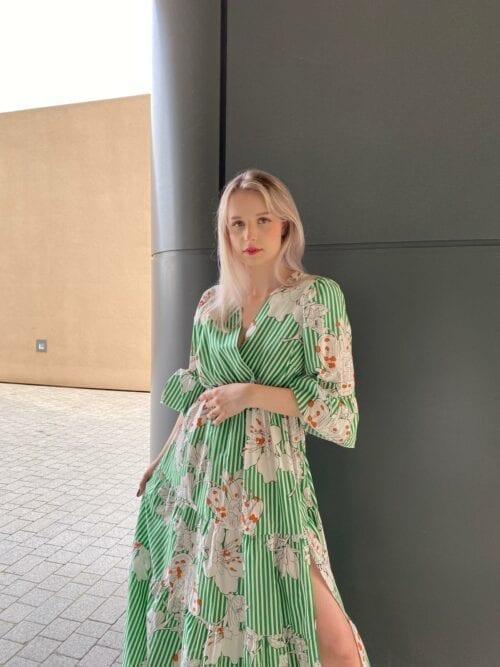 sukienka bawełniana włoska maxi w paseczki i w kwiaty