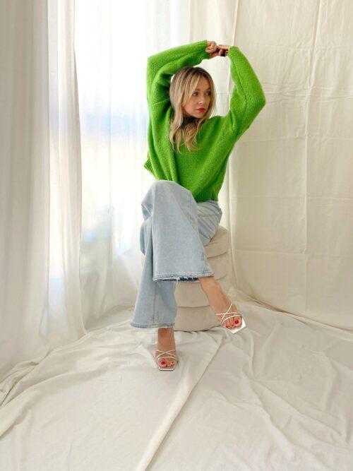 zielony sweter na jesień krótki miękki