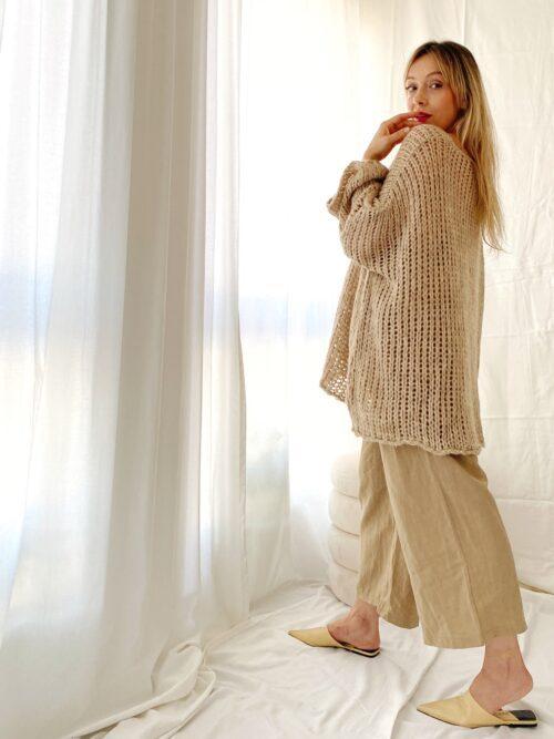 spodnie beżowe lniane szerokie miękkie couloty