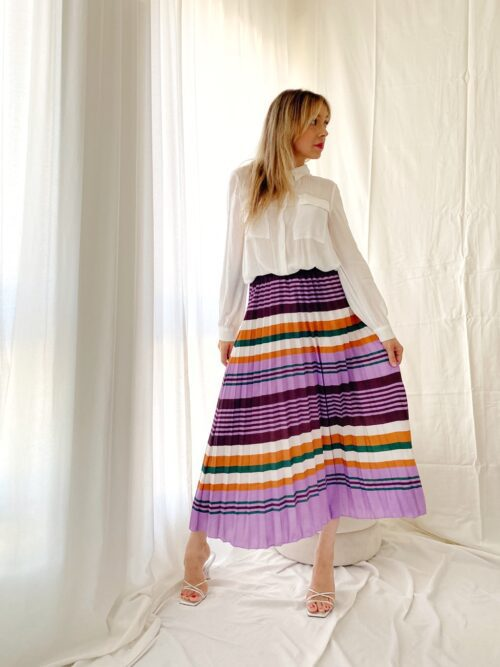 klasyczna spódnica w paski plisowana kolorowa