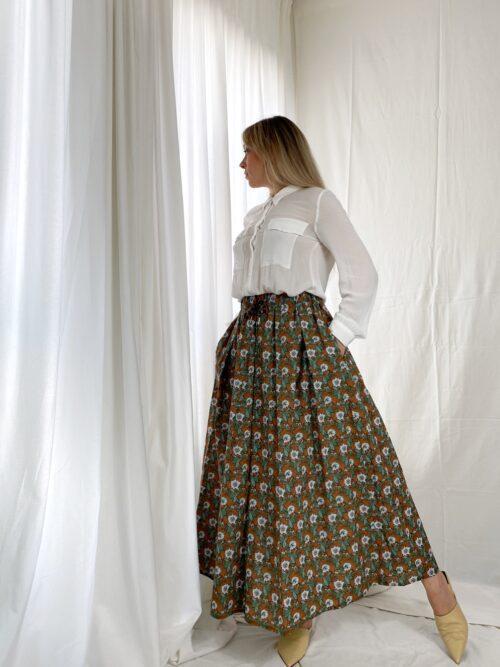 spódnica długa włoska bawełniana na jesień