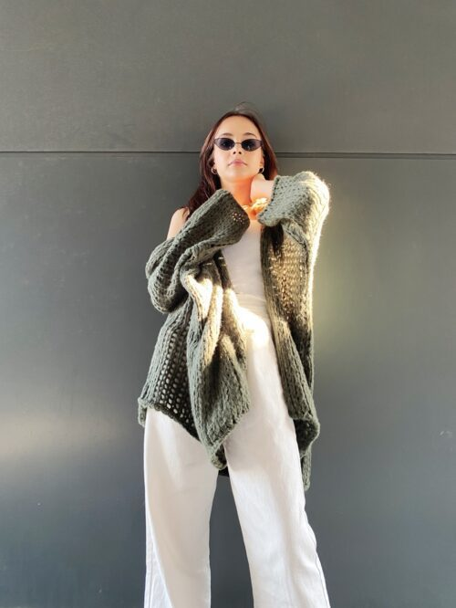 sweter długi kardigan khaki
