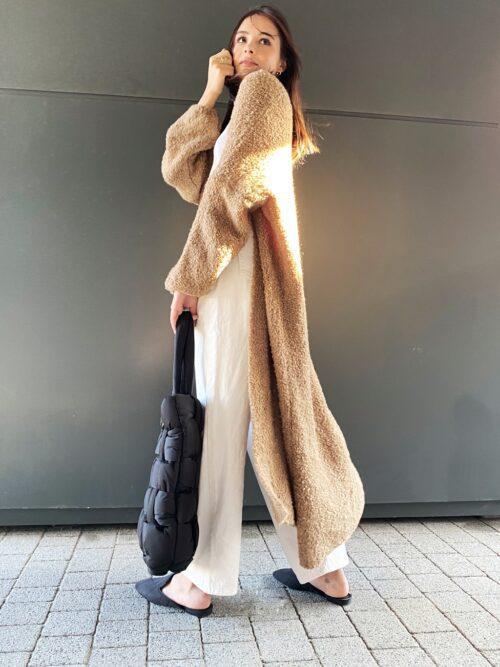 kardigan karmelowy długi płaszcz