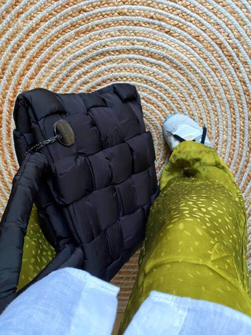 torba szoper pikowana ortalionowa czarna