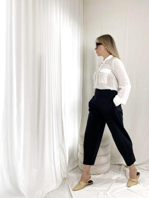 spodnie klasyczne czarne z wysokim stanem i kieszeniami