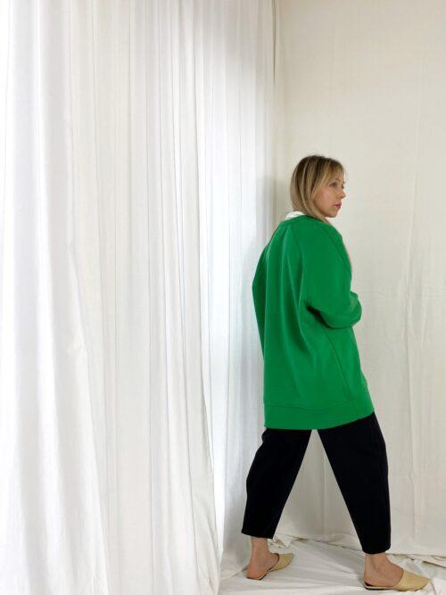 bluza over długa zielona na zimę