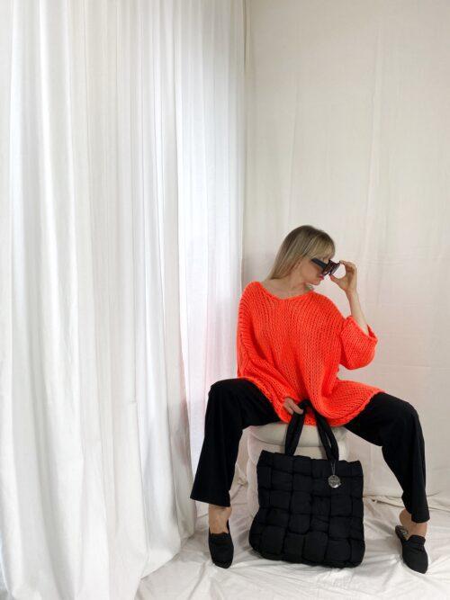 sweter pomarańczowy neonowy ażurowy