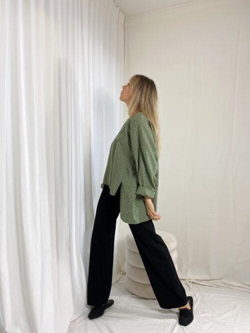bluzka w kratkę włoska wiya zielona asymetryczna