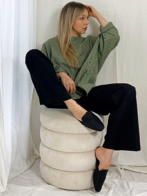 bluzka wiya włoska asymetryczna z bawełny na jesień