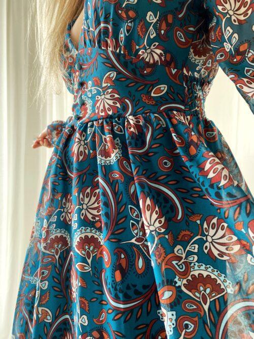 sukienka krótka szyfonowa w kolorze morskim