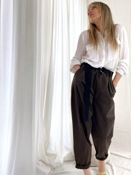 spodnie szerokie brązowe slouchy