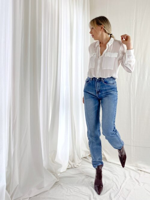 klasyczne jeansy regular niebieskie z wysokim stanem