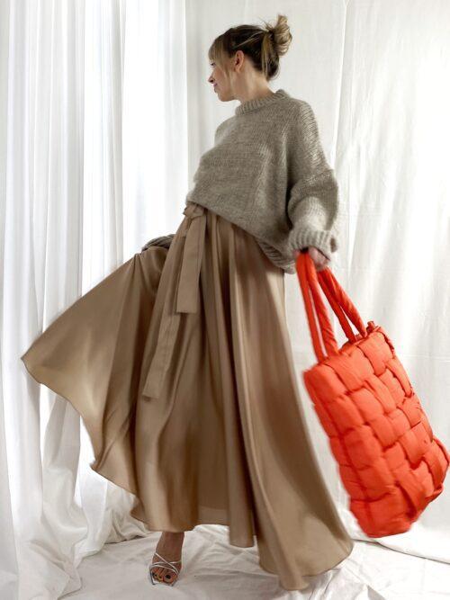 pomarańczowa torba pikowana na jesień z ortalionu