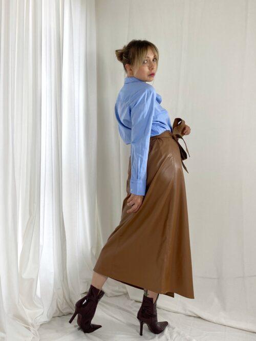 spódnica długa kamel z eko skóry z paskiem jesienna