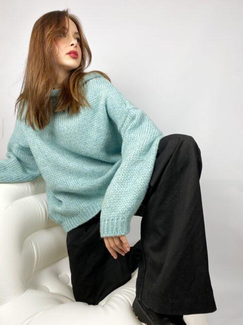 sweter wełniany błękitny baby blue