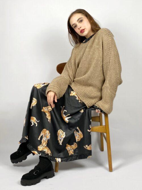 sweter asymetryczny cappuccino wełniany