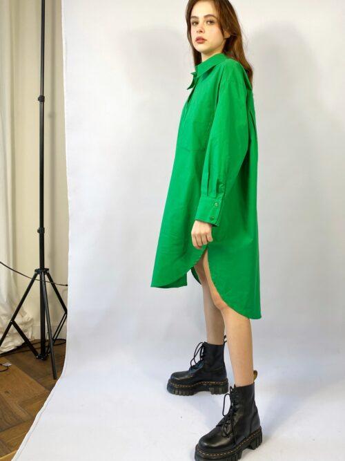 koszula długa trawiasta zielona bawełniana